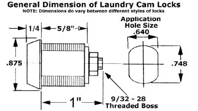 general dimension of laundry cam locks